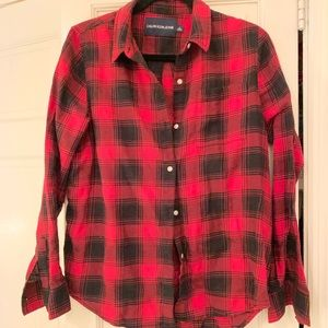 Flannel red and black plaid top